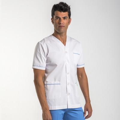 Anade-chaqueta-uniforme-medico-cuello-pico-boton-blanca-azul