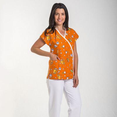 Anade-chaqueta-sanitaria-mujer-microfibra-estampada-dientes-naranja-5