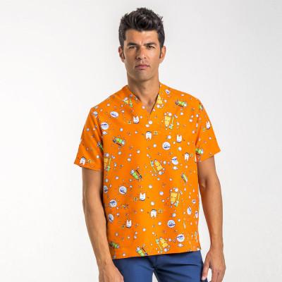 anade-chaqueta-pijama-uniforme-sanitaria-estampada-dientes-naranja