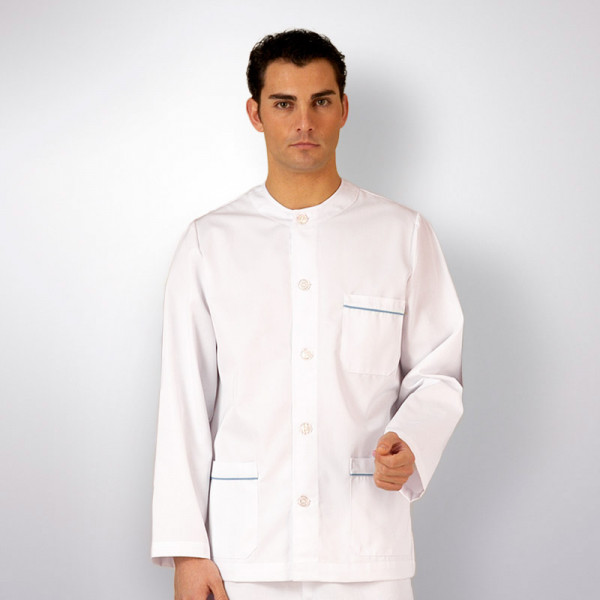 anade-chaqueta-uniforme-trabajo-sanitario-boton-manga-larga- ... 9f9041c3b421