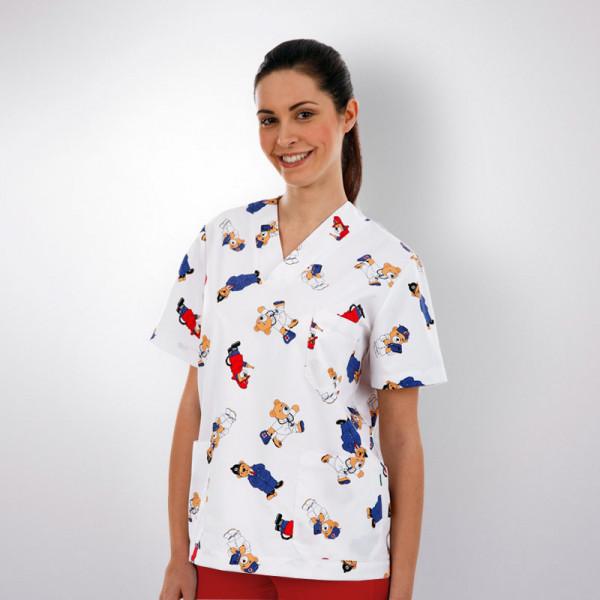 Chaqueta Pijama Sanitario Estampadoosos Blanco