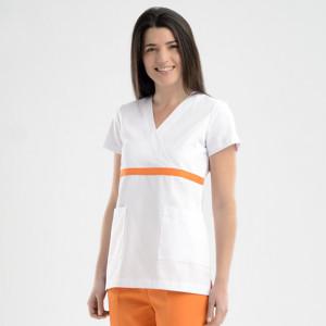 Anade-chaqueta-sanitario-mujer-entallada-blanca-naranja