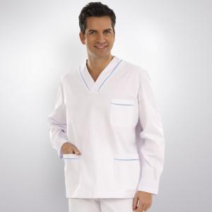anade-chaqueta-medica-manga-uniforme-larga-blanca-azul