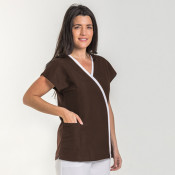 Chaqueta uniforme médico microfibra mujer marron/blanca