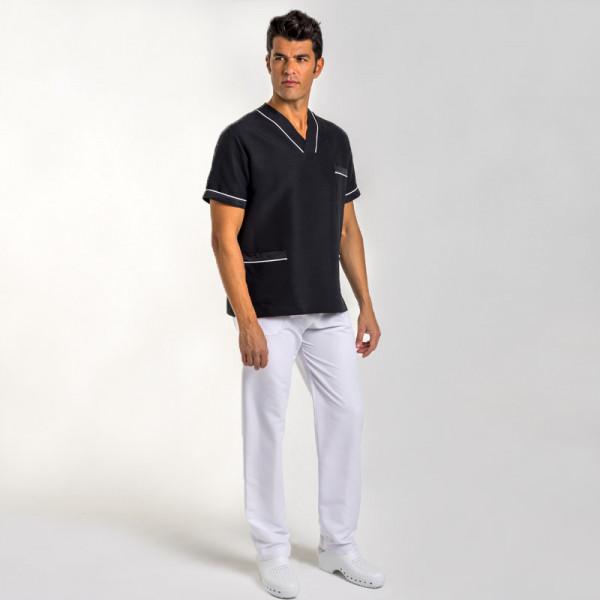 Chaqueta pijama uniforme sanitario negra y blanca